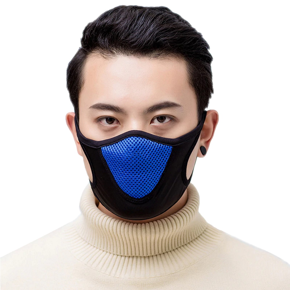 Mund Nasen Maske, Mund Nasen Schutz, Sportmaske Blau aus Baumwoll-Mischgewebe mit Blauem Mitsubishi Mesh-Stoff, im Mund Nasen Bereich innen mit Samt-Futter.