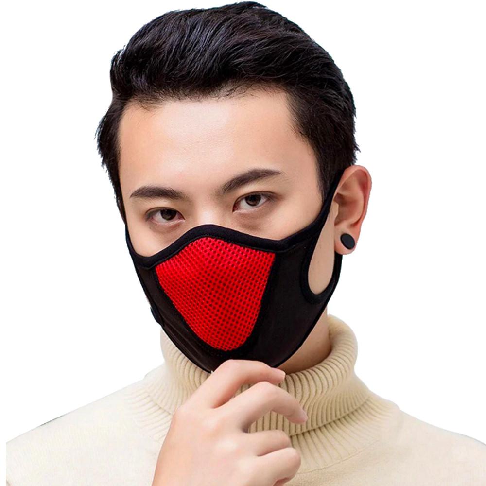 Frei Atmen Maske Sportmaske Schutzmaske Atmungsaktive Nase Mund Gesicht Maske Mesh und Baumwolle. Outdoor Sport Sicherheit Arbeits Laufen Wandern Gesichts Maske Schwarz mit rotem Mundstück