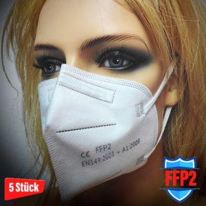 5 Stück FFP2 Masken gemäß CE EN149:2001 + A1:2009 Partikelfiltermaske